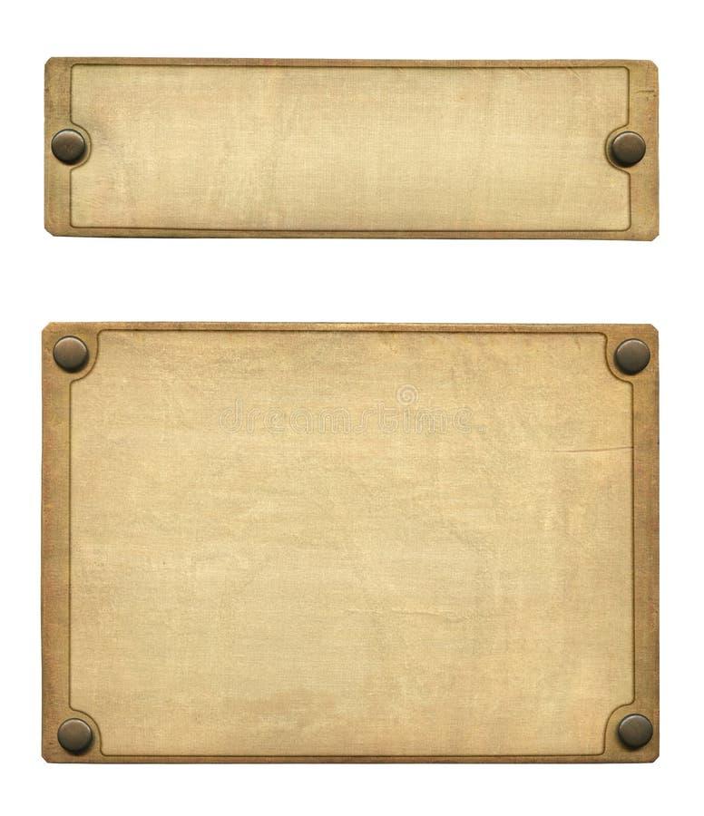 Vecchio piatto d'ottone impresso fotografia stock libera da diritti
