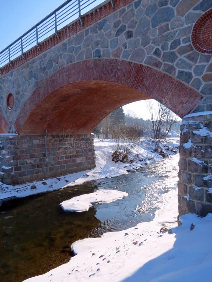 Vecchio ponte della ricostruzione in Silute, Lituania immagini stock libere da diritti