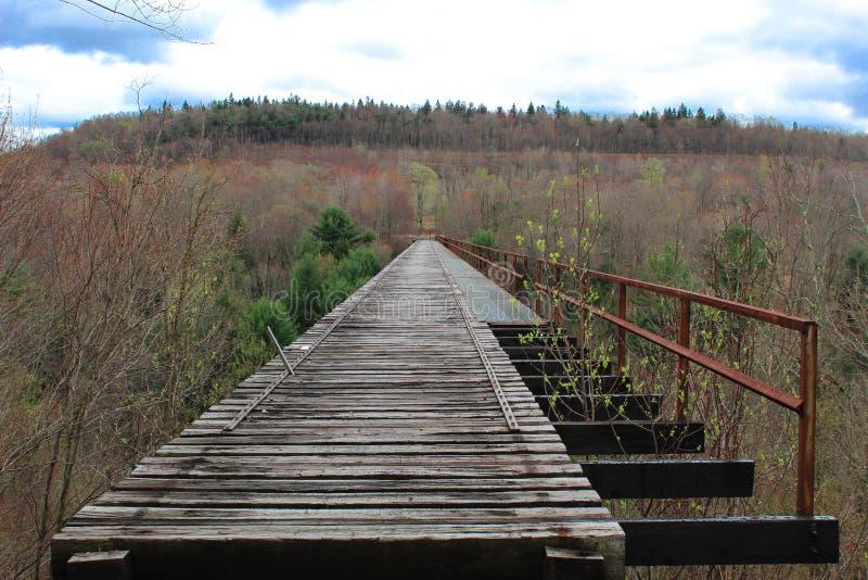 Vecchio ponte di legno del treno del viadotto con la ferrovia arrugginita fotografia stock