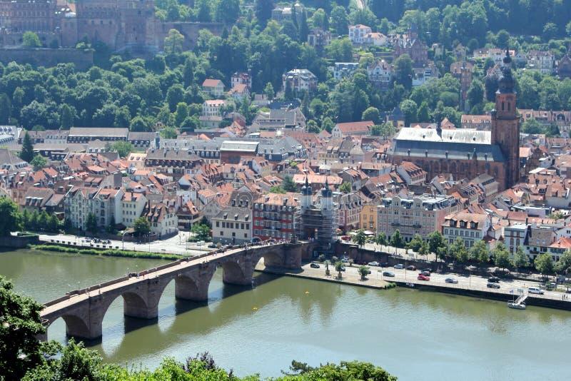 Vecchio ponte di pietra a Heidelberg, Germania fotografie stock libere da diritti