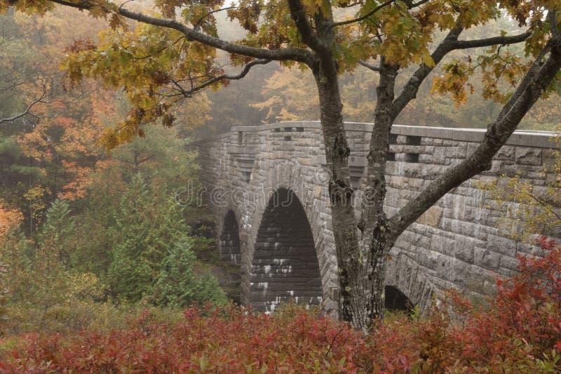 Vecchio ponte di pietra nel parco nazionale di acadia in Maine immagine stock libera da diritti