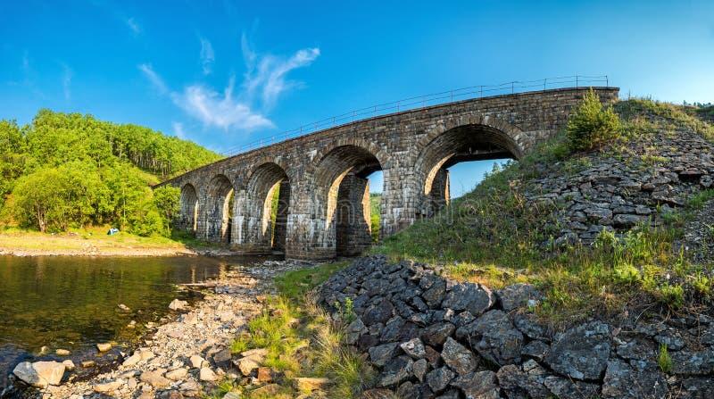 Vecchio ponte sulla ferrovia di Circum-Baikal immagine stock libera da diritti