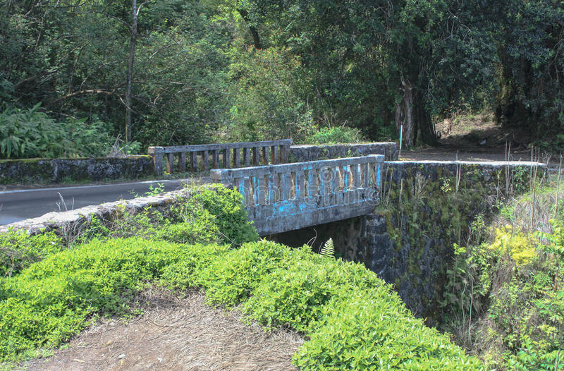 Vecchio ponte sulla strada a Hana fotografie stock