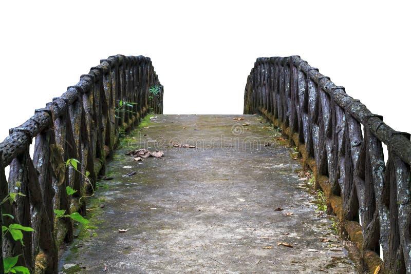 Vecchio ponticello concreto Isolato su priorità bassa bianca fotografia stock