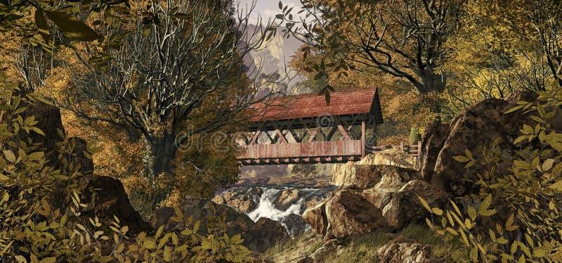 Vecchio ponticello coperto illustrazione vettoriale