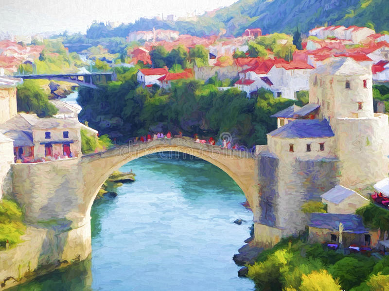 Vecchio ponticello a Mostar illustrazione di stock