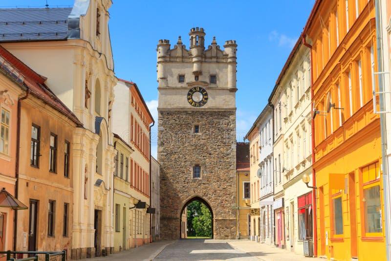 Vecchio portone della città di Jihlava (Iglau), repubblica Ceca fotografia stock