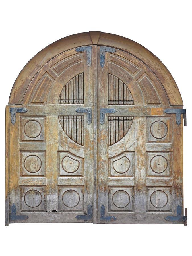 Vecchio portone di legno marrone invecchiato annata isolato sopra backgroun bianco fotografia stock