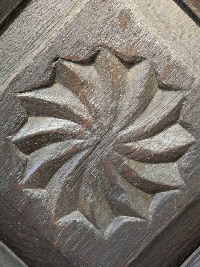 Vecchio primo piano di legno d'annata dell'ornamento immagini stock libere da diritti