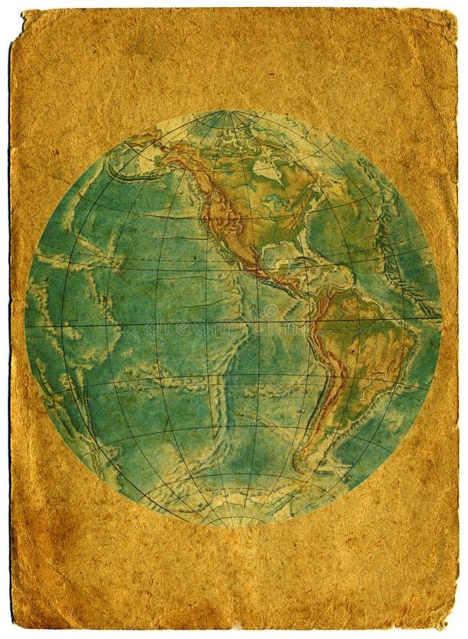 Vecchio programma di mondo di carta. immagini stock libere da diritti