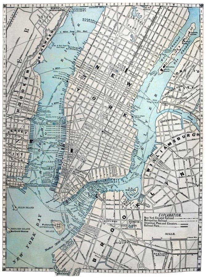 Vecchio programma di via di New York City fotografie stock libere da diritti
