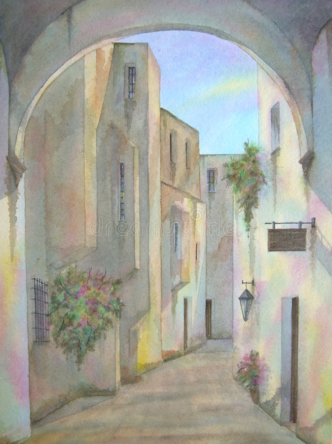 Vecchio quarto ebreo, Gerusalemme illustrazione di stock