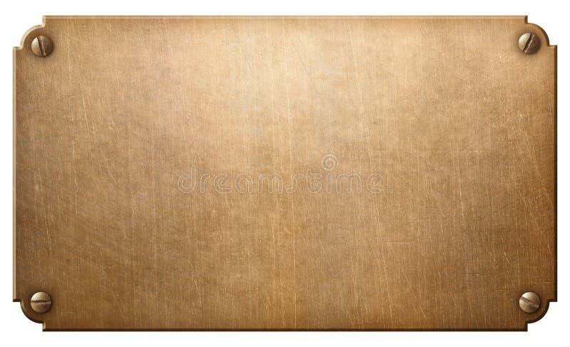 Vecchio rame o di piastra metallica bronzeo con l'illustrazione dei ribattini 3d illustrazione di stock