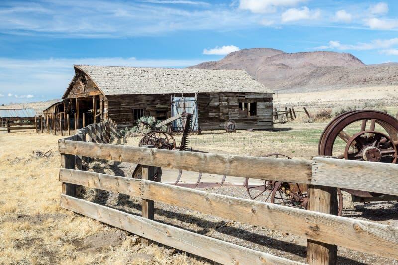 Vecchio ranch ad ovest nel Nevada fotografie stock