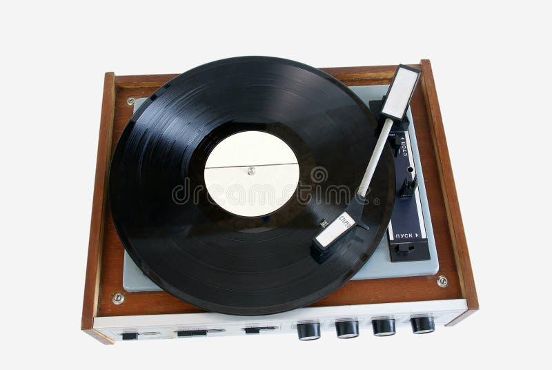 Vecchio record di fonografo del giocatore fotografie stock