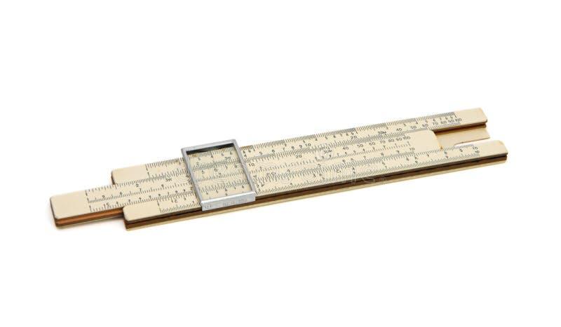 vecchio regolo calcolatore della casella isolato immagine