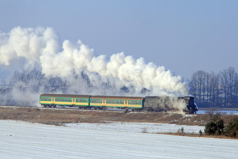 Vecchio retro treno del vapore fotografie stock