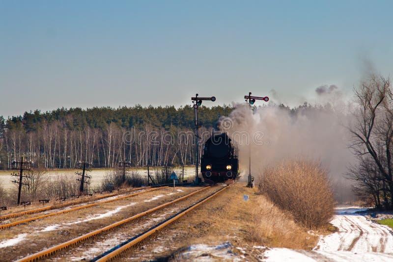 Vecchio retro treno del vapore fotografia stock libera da diritti