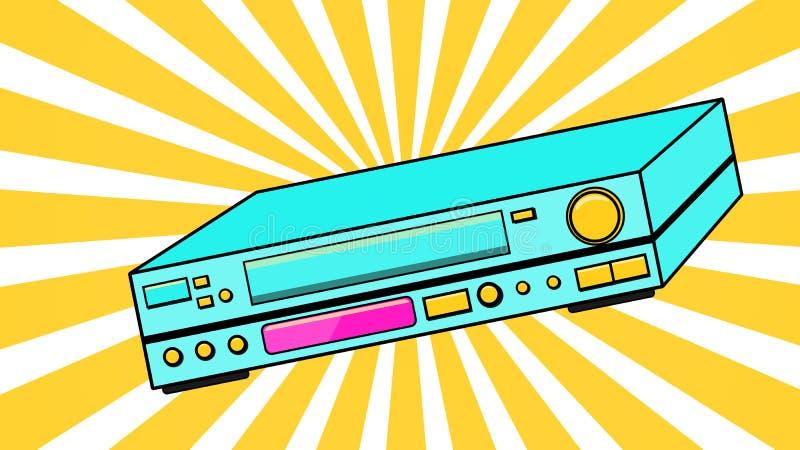 Vecchio retro videoregistratore volumetrico d'annata blu dell'oggetto d'antiquariato dei pantaloni a vita bassa per le video-cass illustrazione vettoriale