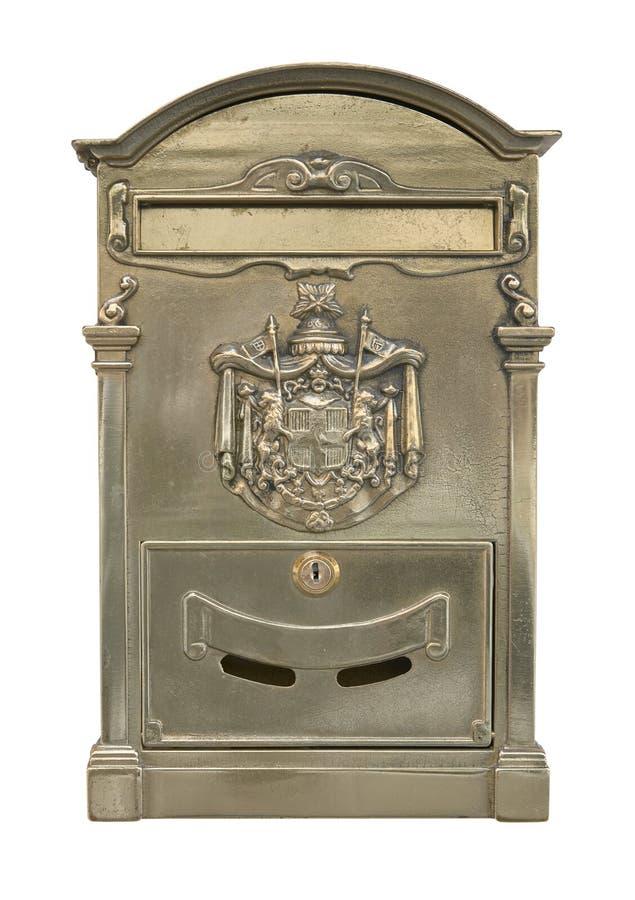 Vecchio ritaglio d'ottone della casella di lettera immagini stock