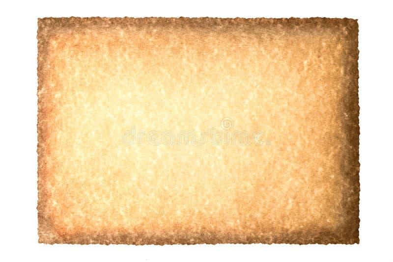 Vecchio rotolo d'annata della carta di struttura del fondo di lerciume isolato su bianco Brown ha bruciato il fondo di carta illustrazione vettoriale