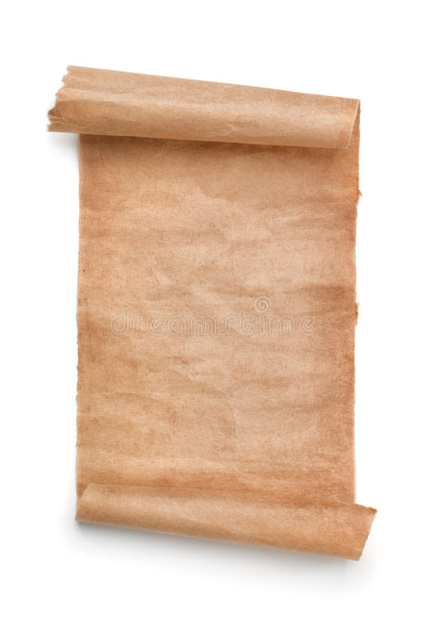 Vecchio rotolo della carta in bianco fotografia stock libera da diritti