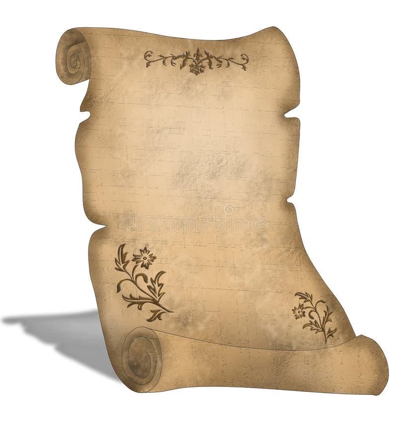Vecchio rotolo della pergamena con le decorazioni royalty illustrazione gratis
