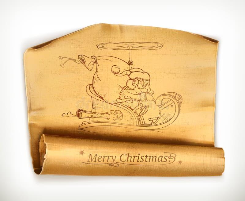 Vecchio rotolo di Buon Natale illustrazione di stock