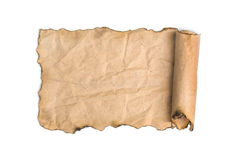 Vecchio rotolo di carta isolato su bianco fotografie stock