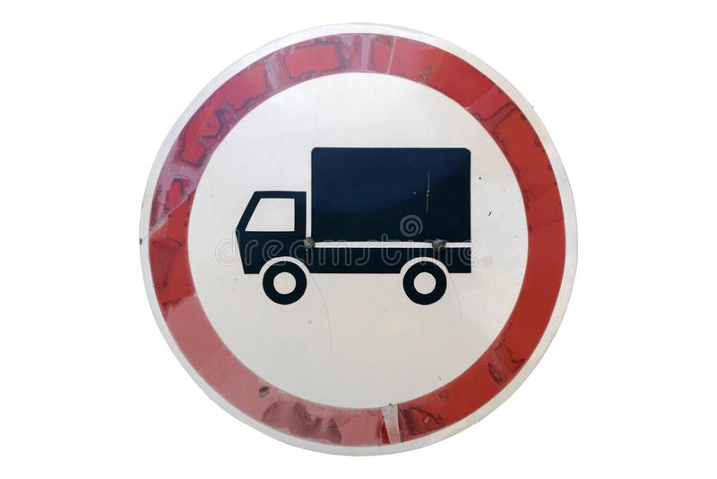 Vecchio ` rotondo del segnale stradale nessun ` del veicolo industriale isolato su bianco illustrazione vettoriale