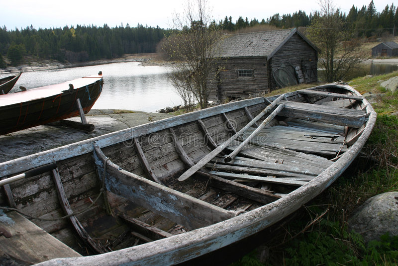 Vecchio rowboat immagine stock