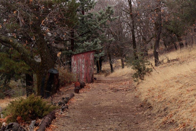 Vecchio, sbucciando pittura rossa sulla piccola, annata di legno fuori che costruisce sul percorso rurale nell'autunno immagine stock