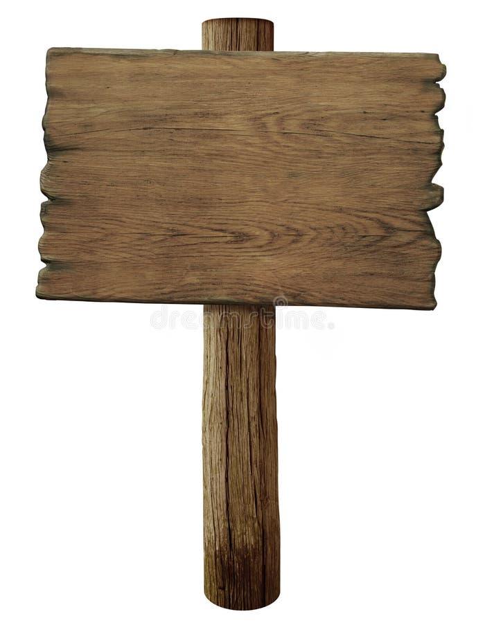 Vecchio segnale stradale di legno in bianco isolato fotografia stock libera da diritti