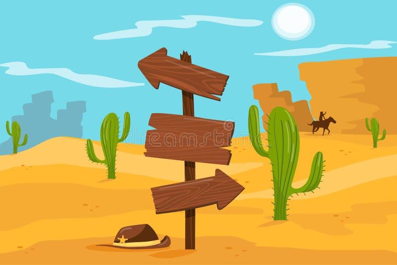 Vecchio segnale stradale di legno che sta sull'illustrazione di vettore del fondo del paesaggio del deserto, stile del fumetto illustrazione di stock