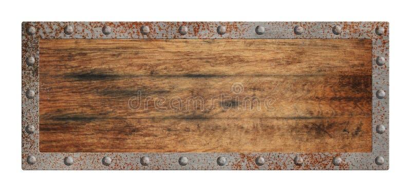 Vecchio segno di legno in bianco con il confine del metallo isolato immagine stock libera da diritti