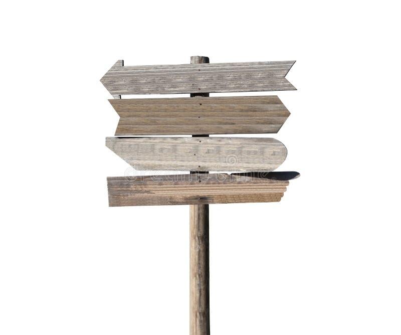 Vecchio segno di legno in bianco della freccia fotografia stock