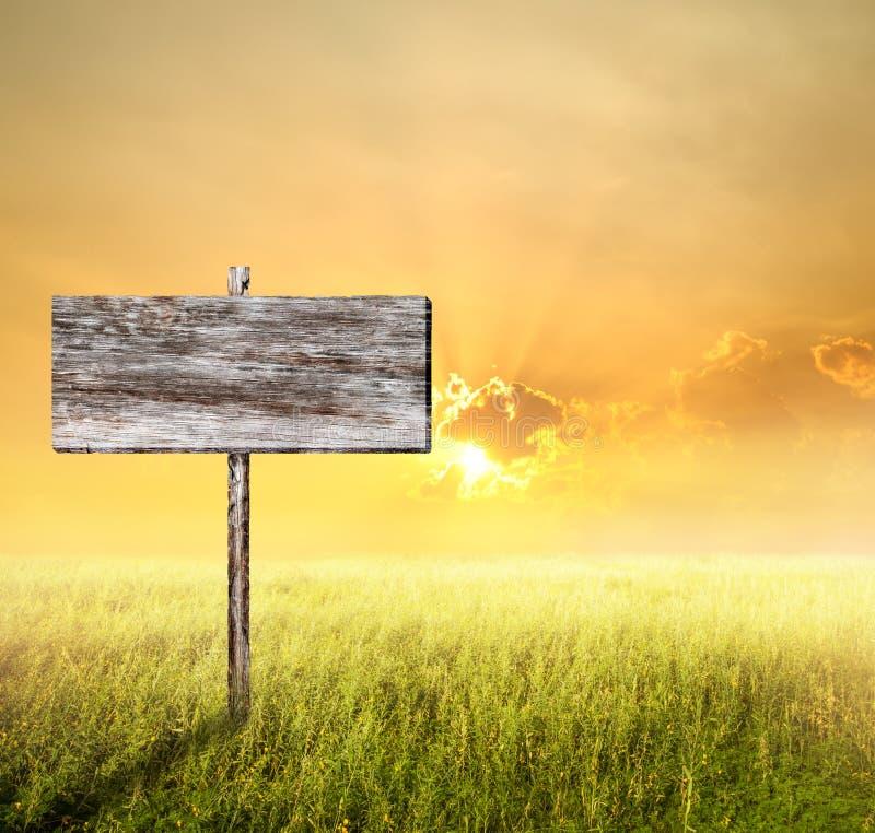 Vecchio segno di legno con l'erba ed il tramonto del pendio fotografia stock