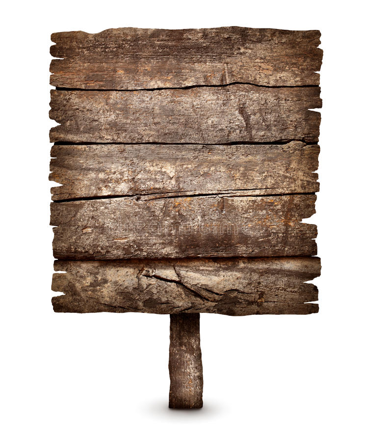Vecchio segno stagionato in bianco del bordo di legno fotografia stock libera da diritti