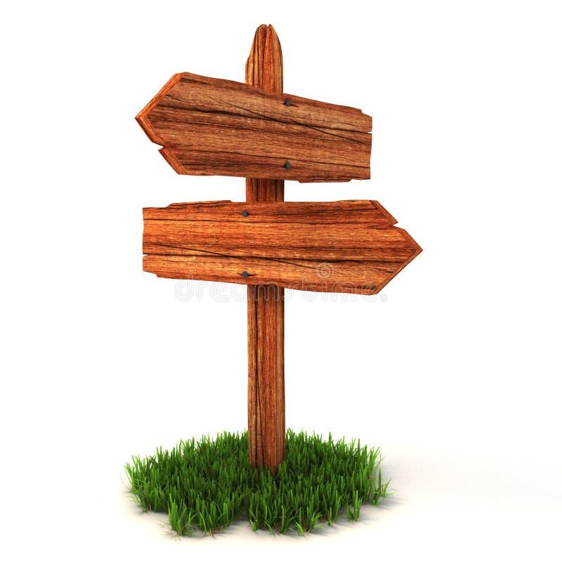Vecchio signpost vuoto di legno su erba royalty illustrazione gratis