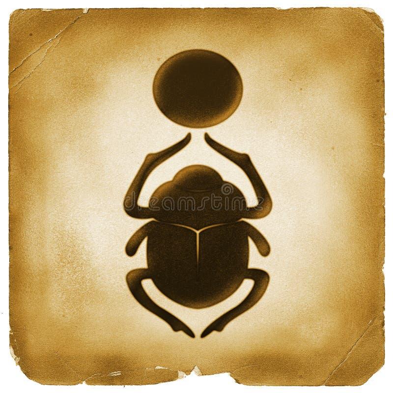 Vecchio simbolo del sole egiziano dello scarabeo illustrazione vettoriale