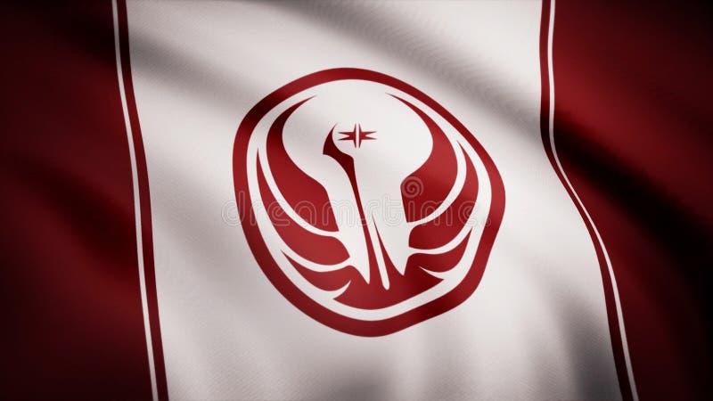 Vecchio simbolo della Repubblica di Star Wars sulla bandiera Il tema delle guerre stellari Uso dell'editoriale soltanto illustrazione di stock
