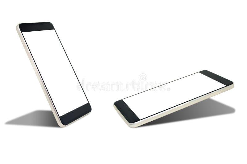 Vecchio smartphone nero e schermo bianco in bianco con ombra isolata su fondo bianco illustrazione vettoriale