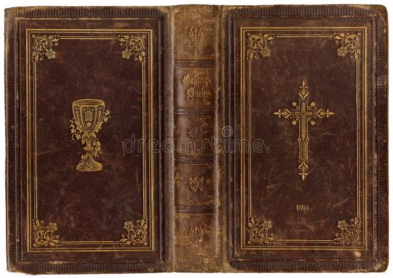 Vecchio songbook di cuoio 1890 fotografia stock