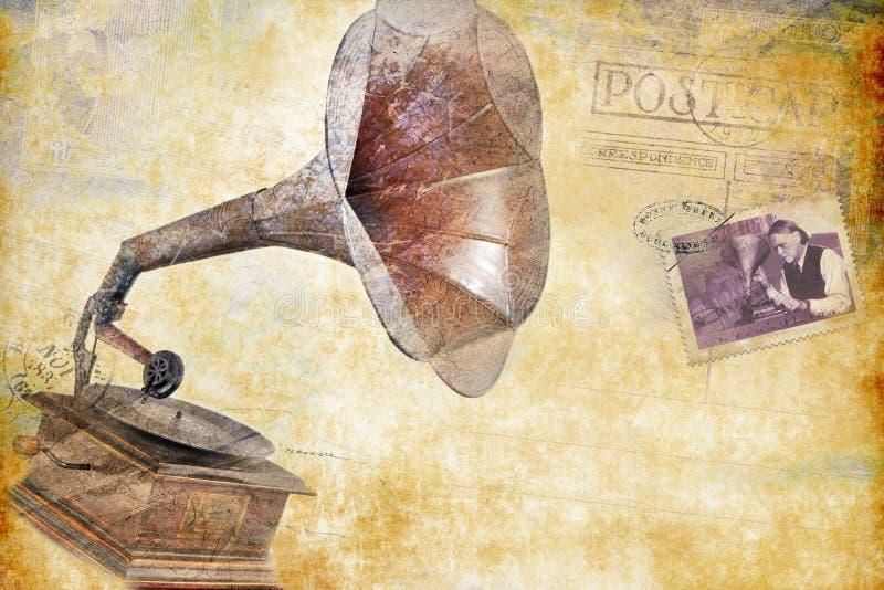 Vecchio stile dell'annata della cartolina del grammofono Rotazione rosso-cupo di Digitahi art royalty illustrazione gratis