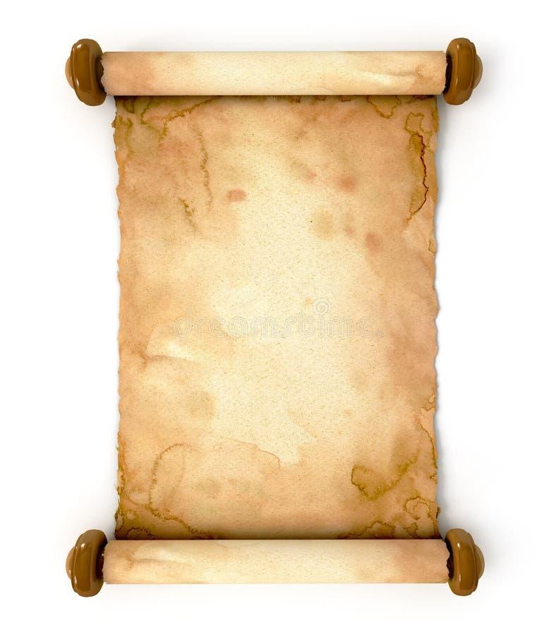 Vecchio strato di carta. Ha spiegato un rotolo antico illustrazione di stock