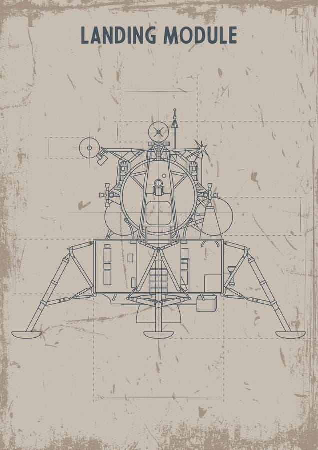 Vecchio Stylization d'atterraggio dei disegni del modulo, carta sporca di struttura illustrazione di stock