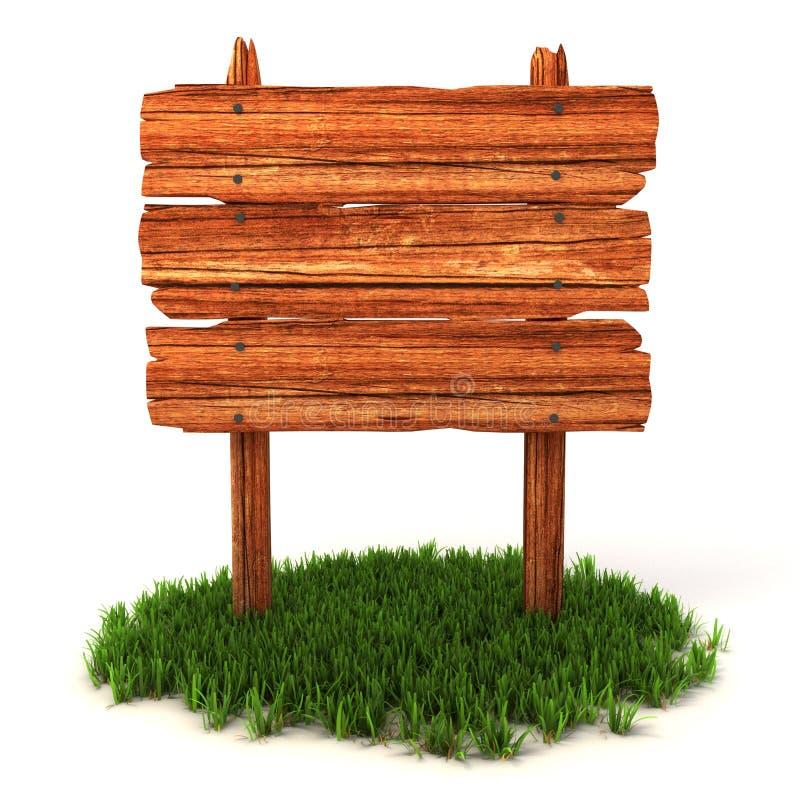 Vecchio tabellone per le affissioni di legno sull'erba illustrazione di stock