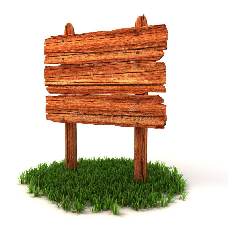 Vecchio tabellone per le affissioni di legno sull'erba illustrazione vettoriale