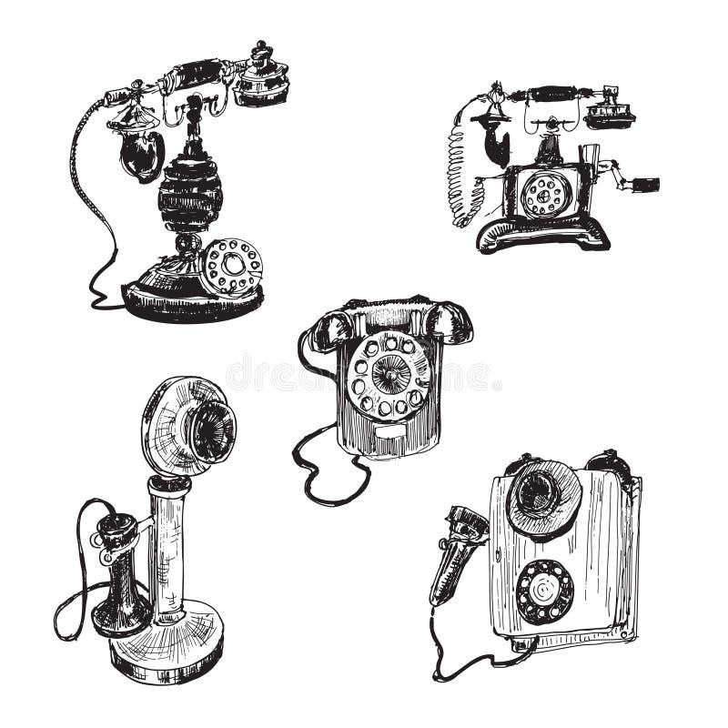 Vecchio telefono d'annata illustrazione vettoriale