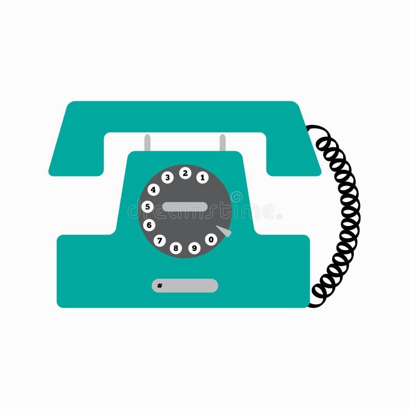 Vecchio telefono del disco Retro telefono fisso Illustrazione di vettore royalty illustrazione gratis